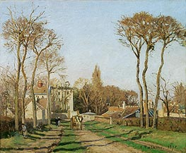 The Entrance to the Village of Voisins, 1872 by Pissarro | Painting Reproduction