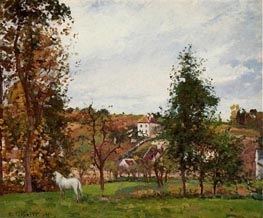 Landscape with a White Horse in a Meadow, 1872 von Pissarro | Gemälde-Reproduktion