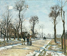 Street, Winter Sunlight and Snow, 1872 von Pissarro | Gemälde-Reproduktion