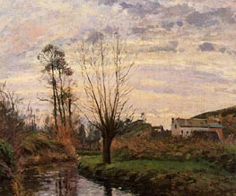 Landscape with Small Stream, 1872 von Pissarro | Gemälde-Reproduktion