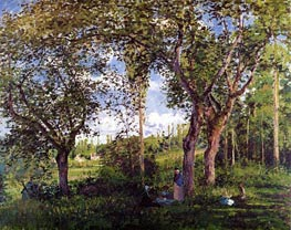 Landscape with Stollers Relaxing under the Trees, 1872 by Pissarro | Painting Reproduction