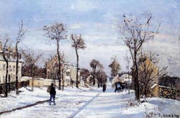 Street in the Snow, Louveciennes, c.1872 von Pissarro | Gemälde-Reproduktion