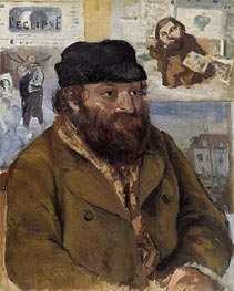 Portrait of Paul Cezanne, 1874 by Pissarro | Painting Reproduction