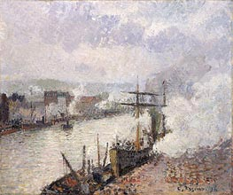 Steamboats in the Port of Rouen | Pissarro | Painting Reproduction