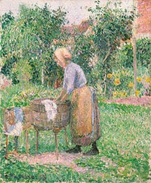 A Washerwoman at Eragny, 1893 by Pissarro | Painting Reproduction