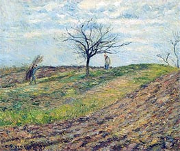 Cultivated Land in Winter, a Man Carrying Fagots, 1877 by Pissarro | Painting Reproduction