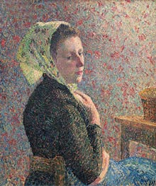 Woman Wearing a Green Headscarf, 1893 by Pissarro | Painting Reproduction