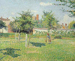 Woman in the Meadow at Eragny, Spring, 1887 by Pissarro | Painting Reproduction