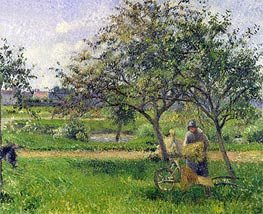 The Wheelbarrow, Orchard, c.1881 by Pissarro | Painting Reproduction