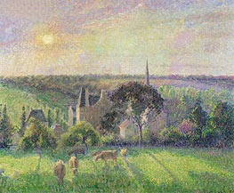 The Church and Farm of Eragny, 1895 by Pissarro | Painting Reproduction