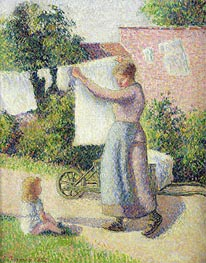 Woman Hanging up the Washing, 1887 by Pissarro | Painting Reproduction