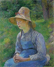 Peasant Girl with a Straw Hat | Pissarro | Gemälde Reproduktion