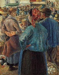 The Poultry Market at Pontoise, 1882 by Pissarro   Painting Reproduction