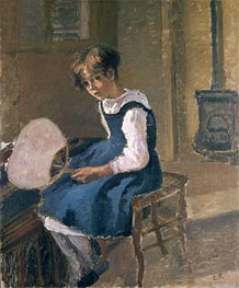Jeanne Holding a Fan, undated by Pissarro   Painting Reproduction