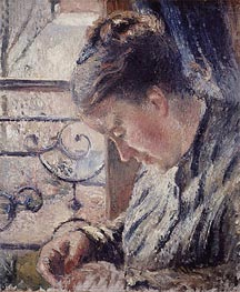 Mme Pissarro Sewing Beside a Window, undated by Pissarro   Painting Reproduction