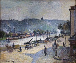 Quays at Rouen, 1883 by Pissarro   Painting Reproduction