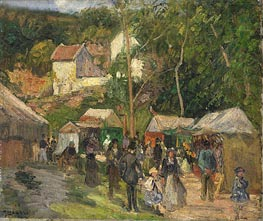 Festival at L'Hermitage, c.1876/78 by Pissarro   Painting Reproduction