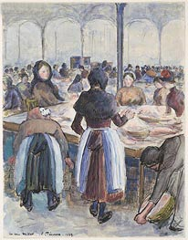 The Market Place, 1889 by Pissarro   Painting Reproduction