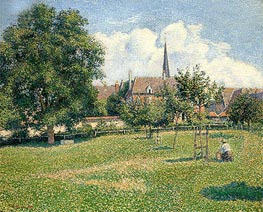 The House of the Deaf Woman and the Belfry at Eragny, 1886 by Pissarro   Painting Reproduction