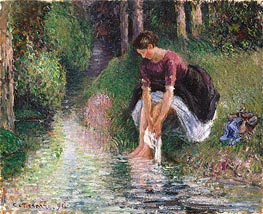Woman Washing Her Feet in a Brook, 1894 by Pissarro   Painting Reproduction