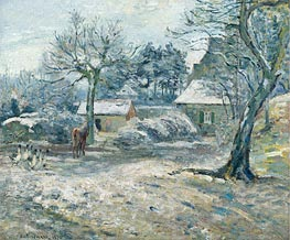 Farm in Montfoucault, Snow | Pissarro | Painting Reproduction