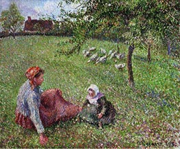 The Geese Pasture   Pissarro   Painting Reproduction