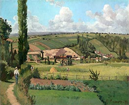 Landscape at Les Pâtis, Pontoise, 1868 by Pissarro | Painting Reproduction