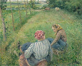 Young Peasant Girls Resting in the Fields near Pontoise, 1882 by Pissarro | Painting Reproduction