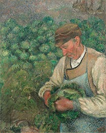 The Gardener - Old Peasant with Cabbage | Pissarro | Painting Reproduction