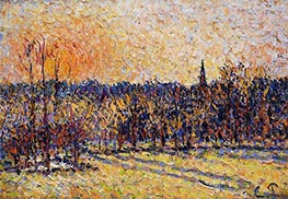 Sunset, Bazincourt Steeple, c.1890 by Pissarro | Painting Reproduction