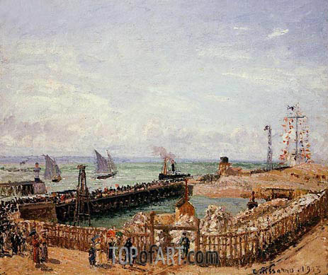 The Jetty, Le Havre - High Tide, Morning Sun, 1903 | Pissarro | Painting Reproduction