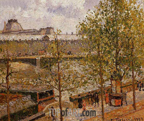 The Louvre, Morning, Sun, Quai Malaquais, 1903 | Pissarro | Gemälde Reproduktion