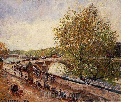The Pont Royal - Grey Weather, Afternoon, Spring, 1903 | Pissarro | Painting Reproduction