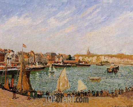 Afternoon, Sun, the Inner Harbor, Dieppe, 1902 | Pissarro | Painting Reproduction