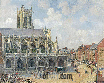 The Church of St Jacques in Dieppe, Morning Sun, 1901 | Pissarro | Painting Reproduction