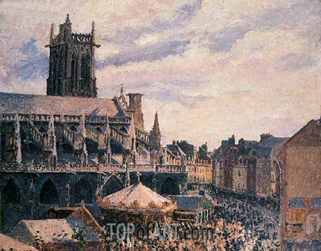 The Fair by the Church of Saint-Jacques, Dieppe, 1901   Pissarro   Painting Reproduction