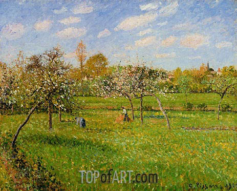 Spring Morning, Cloudy, Eragny, 1900 | Pissarro | Painting Reproduction
