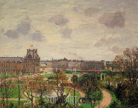 Garden of the Louvre - Morning, Grey Weather, 1899 | Pissarro | Painting Reproduction