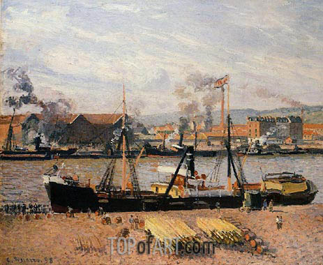 The Port of Rouen - Unloading Wood, 1898 | Pissarro | Painting Reproduction