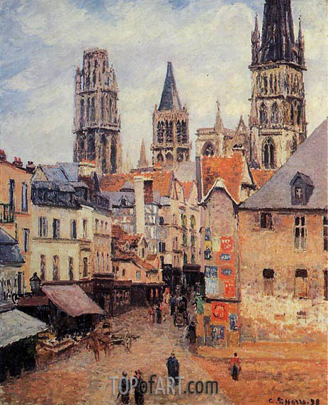 Rue de l'Epppicerie, Rouen - Morning, Grey Weather, 1898 | Pissarro | Gemälde Reproduktion