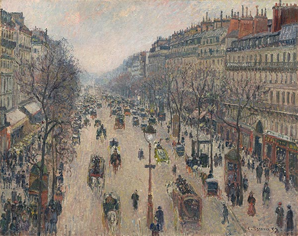 Boulevard Montmartre, Morning, Cloudy Weather, 1897 | Pissarro | Painting Reproduction