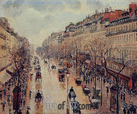 The Boulevard Montmartre, Afternoon, in the Rain, 1897 | Pissarro | Gemälde Reproduktion