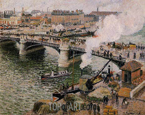 The Boieldiu Bridge, Rouen - Damp Weather, 1896 | Pissarro | Gemälde Reproduktion
