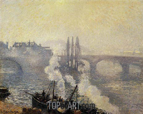 The Corneille Bridge, Rouen, Morning Mist, 1896 | Pissarro | Painting Reproduction