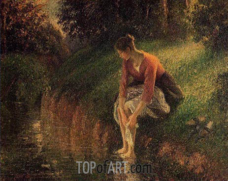 Young Woman Bathing Her Feet, 1895 | Pissarro | Painting Reproduction