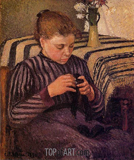 Young Girl Mending Her Stockings, 1895 | Pissarro | Gemälde Reproduktion
