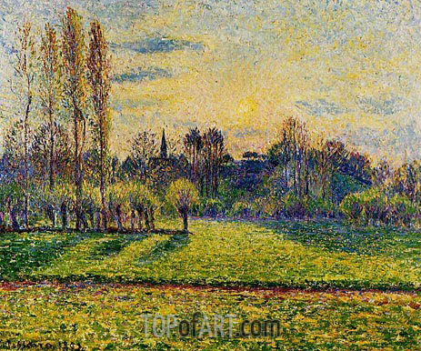 View of Bazincourt, Sunset, 1892 | Pissarro | Painting Reproduction
