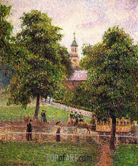 Church at Kew, 1892 | Pissarro | Gemälde Reproduktion