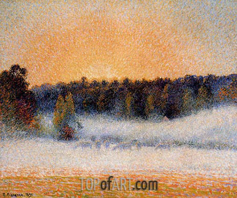 Setting Sun and Fog, Eragny, 1891 | Pissarro | Gemälde Reproduktion