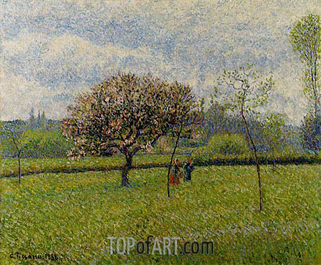 Flowering Apple Trees at Eragny, 1888 | Pissarro | Gemälde Reproduktion